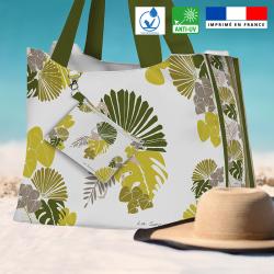 Sac de plage palme exotique verte