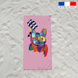 Serviette de plage chat multicolore
